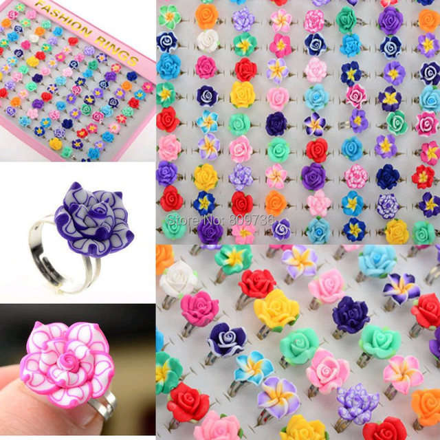 Lots 10pcs Colorful Rose Flower polymer clay Children Rings Adjustable size Kids