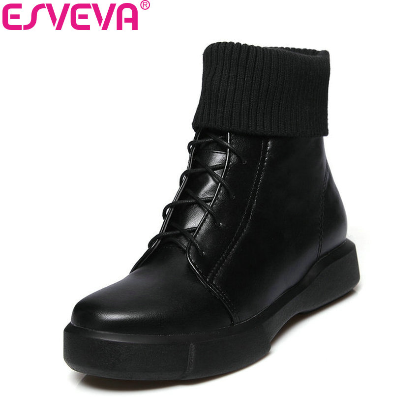 ESVEVA 2018 Women Boots Winter Out Door Lace Up Snow Boots Low Heels Slim Look Ankle Boots Black Ladies Fashion Boots Size 34-43 moruancle fashion womens lace up denim pants skinny pencil jeans trousers for ladies hollow out ankle length slim fit size s l