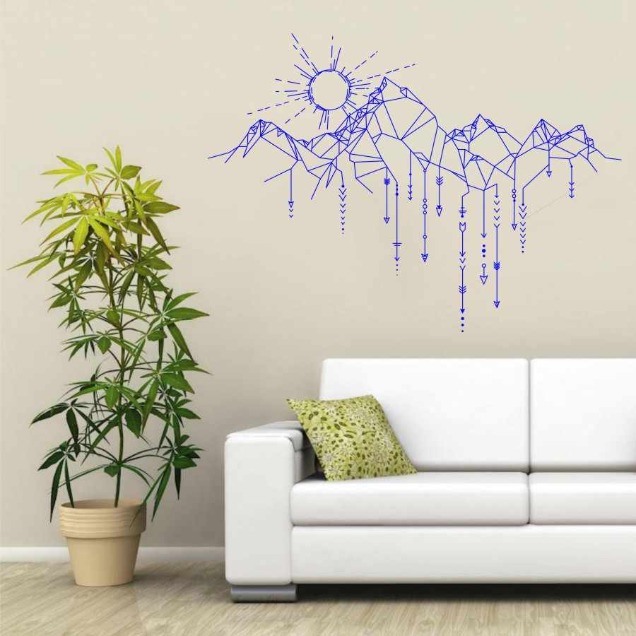 Wall decal vinyl sticker sun mountain arrow wall art design mural living room house home decoration