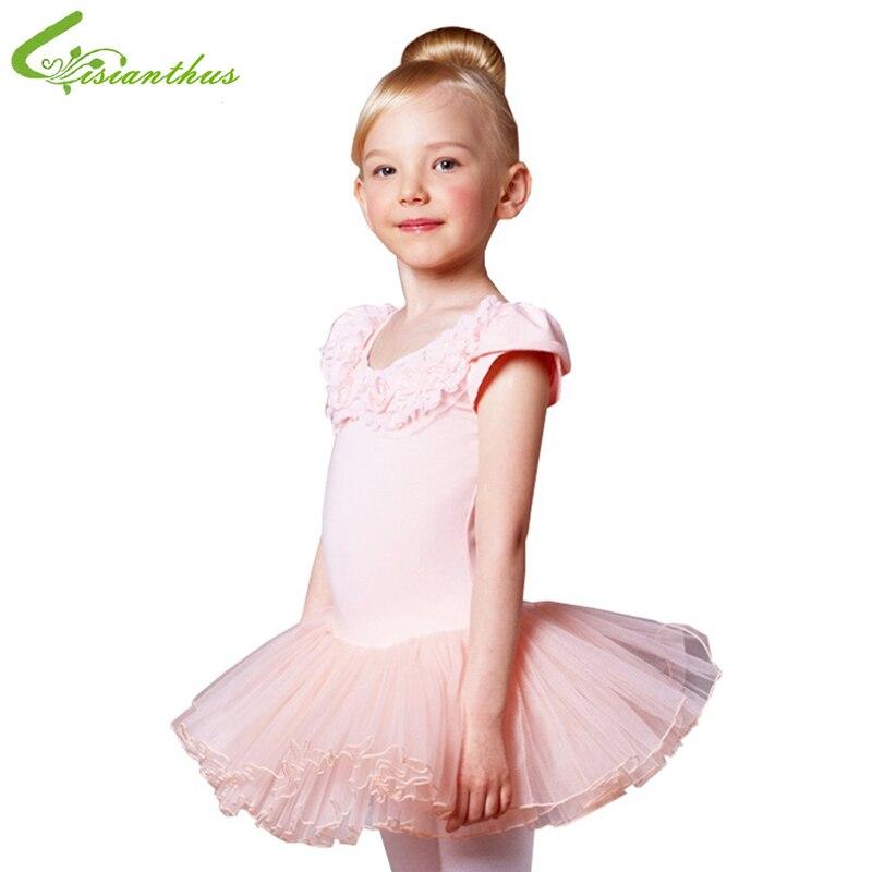 Girls Ballet Tutu Dress Princess Pearls Flower Dancing Dress Training Clothes Kid Children Stage Show Free Shipping