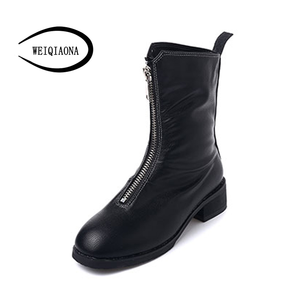 2017 new autumn and winter Front zipper Ankle Boots Martin boots Low-heels women shoes retro leather boots with a single boots