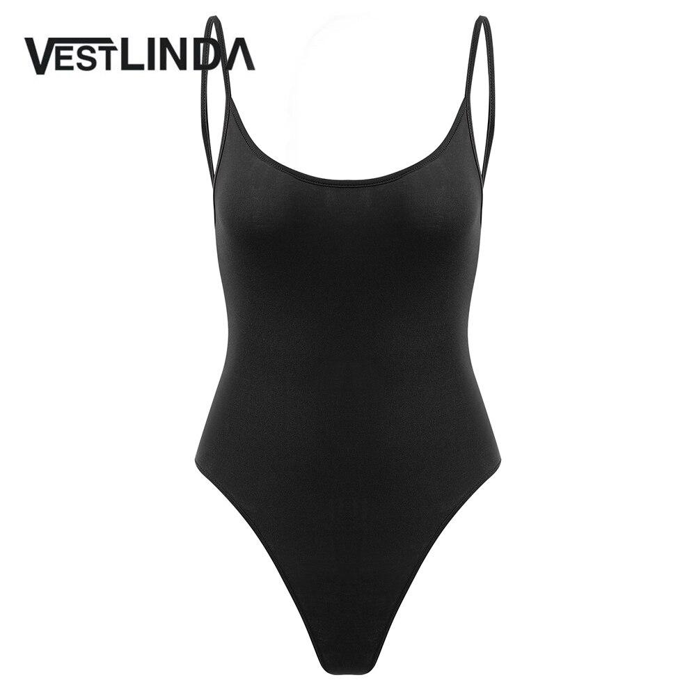 VESTLINDA Open Back Spaghetti Strap Cami Bodysuit Summer Romper Sexy Bodysuit Overalls Women Rompers 2018 Onepiece Body Femme