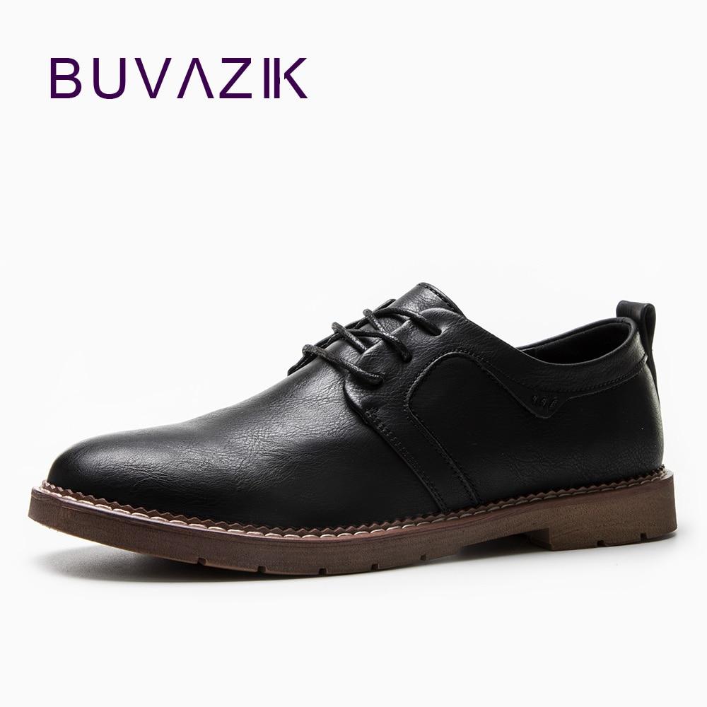 BUVAZIK erkek Brogue ayakkabı 2018 için yeni İngiltere tarzı deri - Erkek Ayakkabıları