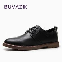 BUVAZIK Mäns Brogue skor till 2018 nya England stil läder män läder lace up mode andas och bekväma avslappnade skor