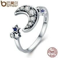 BAMOER Hot Sale 925 Sterling Silver Moon Star Dazzling CZ Open Finger Ring For Women Wedding