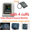CONTEC AUTOMATIC 08A DIGITAL UPPER ARM BLOOD PRESSURE MONITOR + 4cuffs + SW,OLED BPM with adult,adult large,child,neonatal cuff