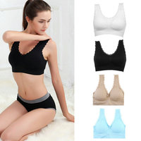 HW2017 NEW Women's Sports Bras Seamless Lace Stretch Gym Fitness Exercise Yoga Bras Full Cup Coolmax Fabric Breathable  Selling