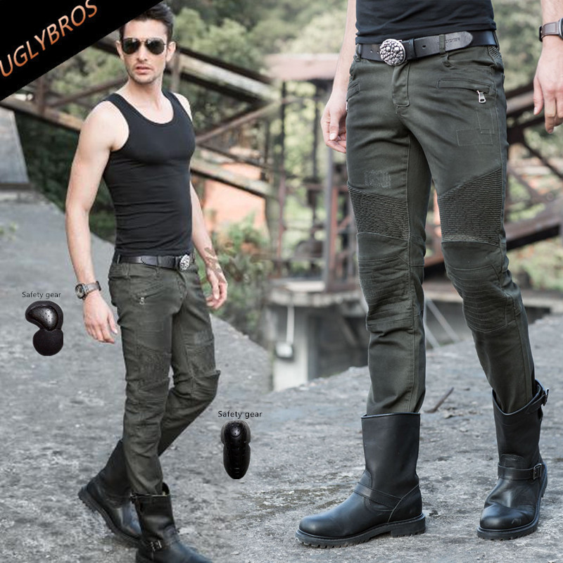 New Army green motorcycle jeans locomotive cruiser Motocross Heavy Machinery pants outdoor cross country pants