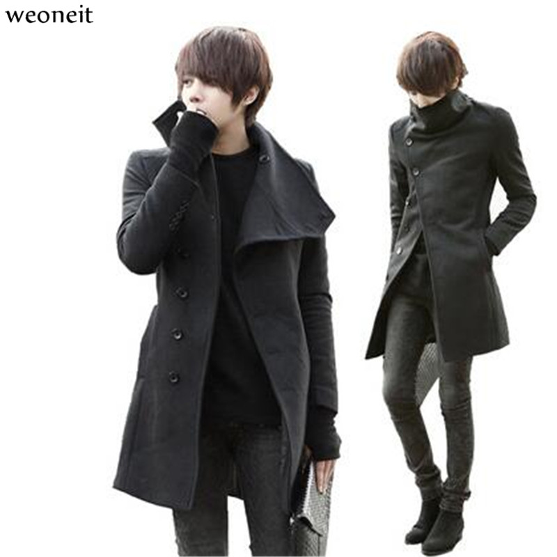 Constructive Weoneit Hot Sell Mens Solid Woolen Trench Coat Male Long Big Collar Slim Fit Jackets Outercoats Jackets & Coats