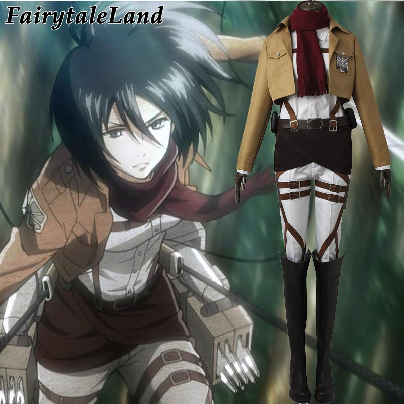 Attack on Titan Mikasa Ackerman Cosplay Costume Halloween costume for women Hot Anime cosplay Shingeki no Kyojin costume uniform