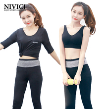 2017 New Half Sleeves Women's Yoga Set Solid 3 Colors Female Sportswear Removable Pad Yoga Suit 4 Pieces Girls' Yoga Clothes