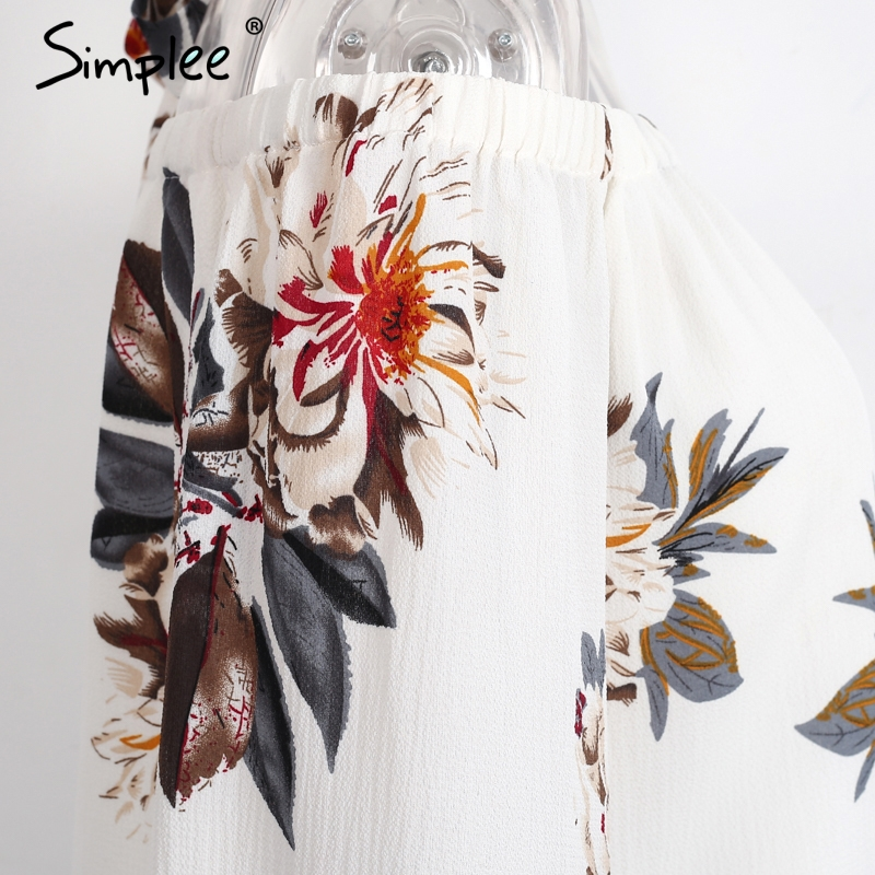 HTB1GCQcPXXXXXcRaXXXq6xXFXXXP - Floral print off shoulder chiffon blouse Women tops halter cool