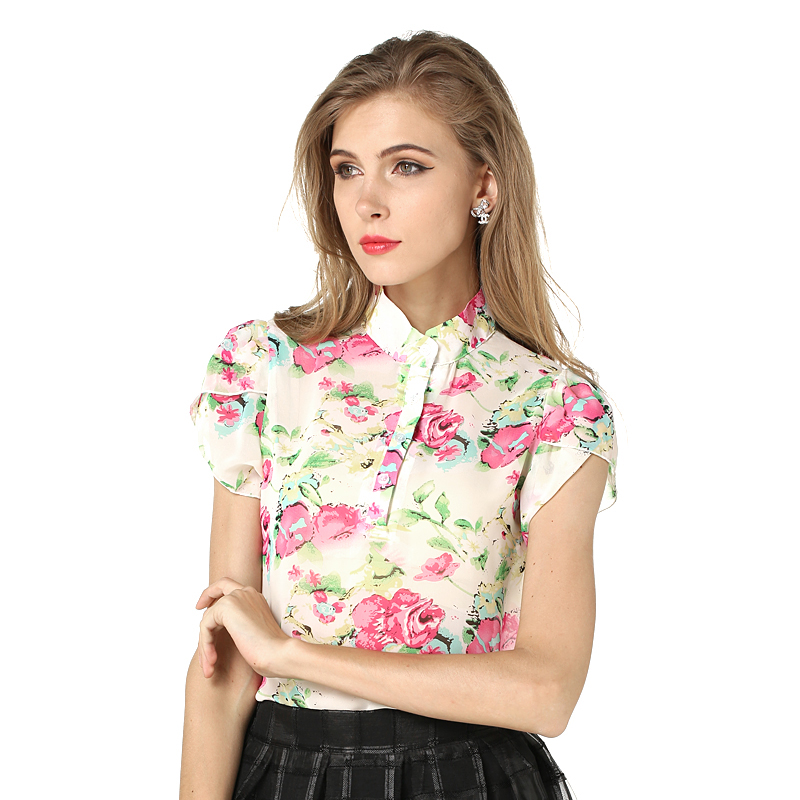 Hotsale Fashion Summer Women Blouses New Printed Flowers Chiffon Short Sleeve Shirts Size S-XXL 3Colors