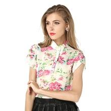 Hotsale Fashion Summer Women Blouses New Printed Flowers Chiffon Short Sleeve Shirts Size S-XXL 3Colors