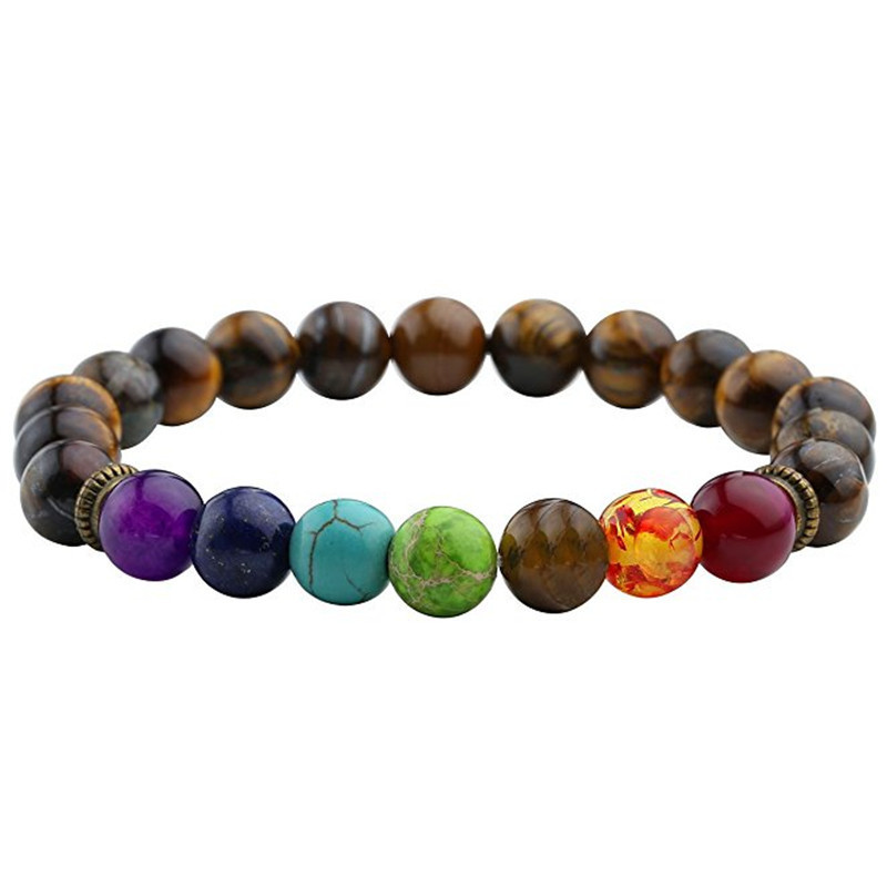 Fashion 7 Chakra Bracelet Men Black Lava Healing Balance Beads Reiki Buddha Prayer Natural Stone Yoga Bracelet Women Jewely
