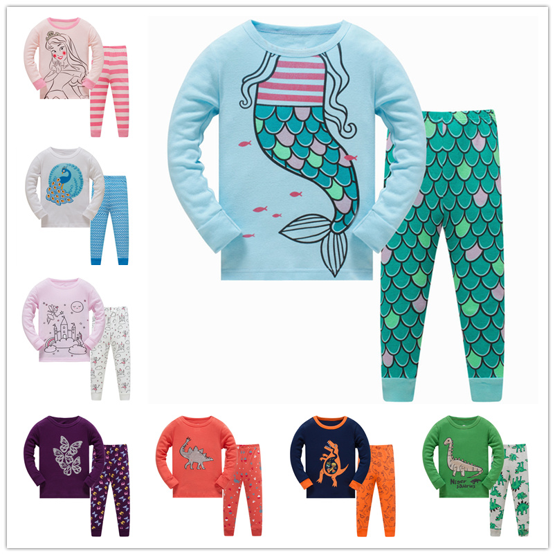 8R TF 6sets lot Wholesale children boys girls pajamas sets long sleeve sleepwear suit for 3