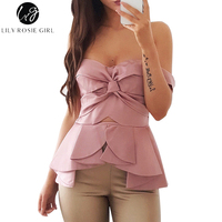 Lily Rosie Girl Pink Hollow Out Sexy Party Women Blouse Off Shoulder Ruffles Summer 2017 Tops