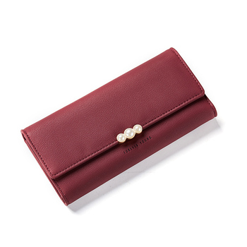 Women's Pearl Buckle Leather Wallet Bags and Wallets Hot Promotions New Arrivals Women's Wallets Color: Wine Red