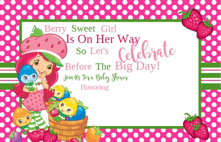 Personalized//Customized Strawberry Shortcake Name Poster Wall Decoration Banner