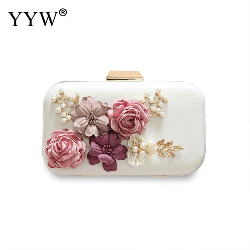 Yyw Mode Abend Tasche Frau Flora Kette Schulter Tasche Für Teenager Mädchen Kupplungen Strass Weiß Handtaschen Rechteck Floral Tasche