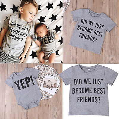 87a73a400 Newborn Baby Boy Clothes Big Little Brothers Family Matching Outfit ...