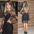 Long Sleeve Lace Sexy See Through Black Cocktail Dress Short Party Dress Vestido de festa curto