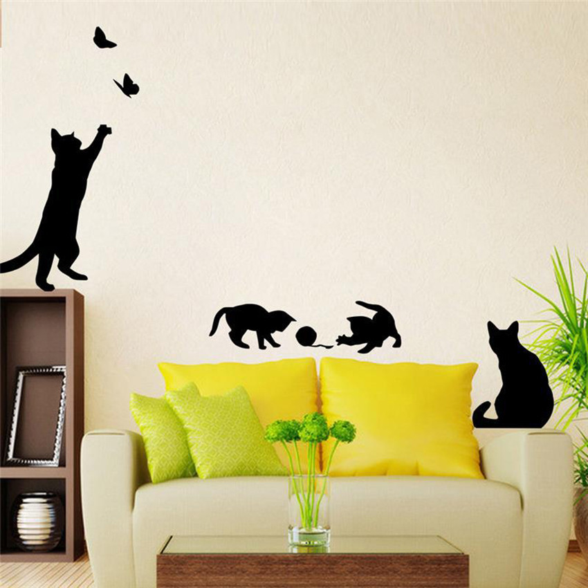 Black Cat play Butterfly Wall Sticker Removable Home Decoration ...