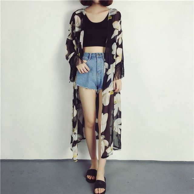 Floral Print Long Sleeve Cardigan Summer Long Cardigan Fringes ...