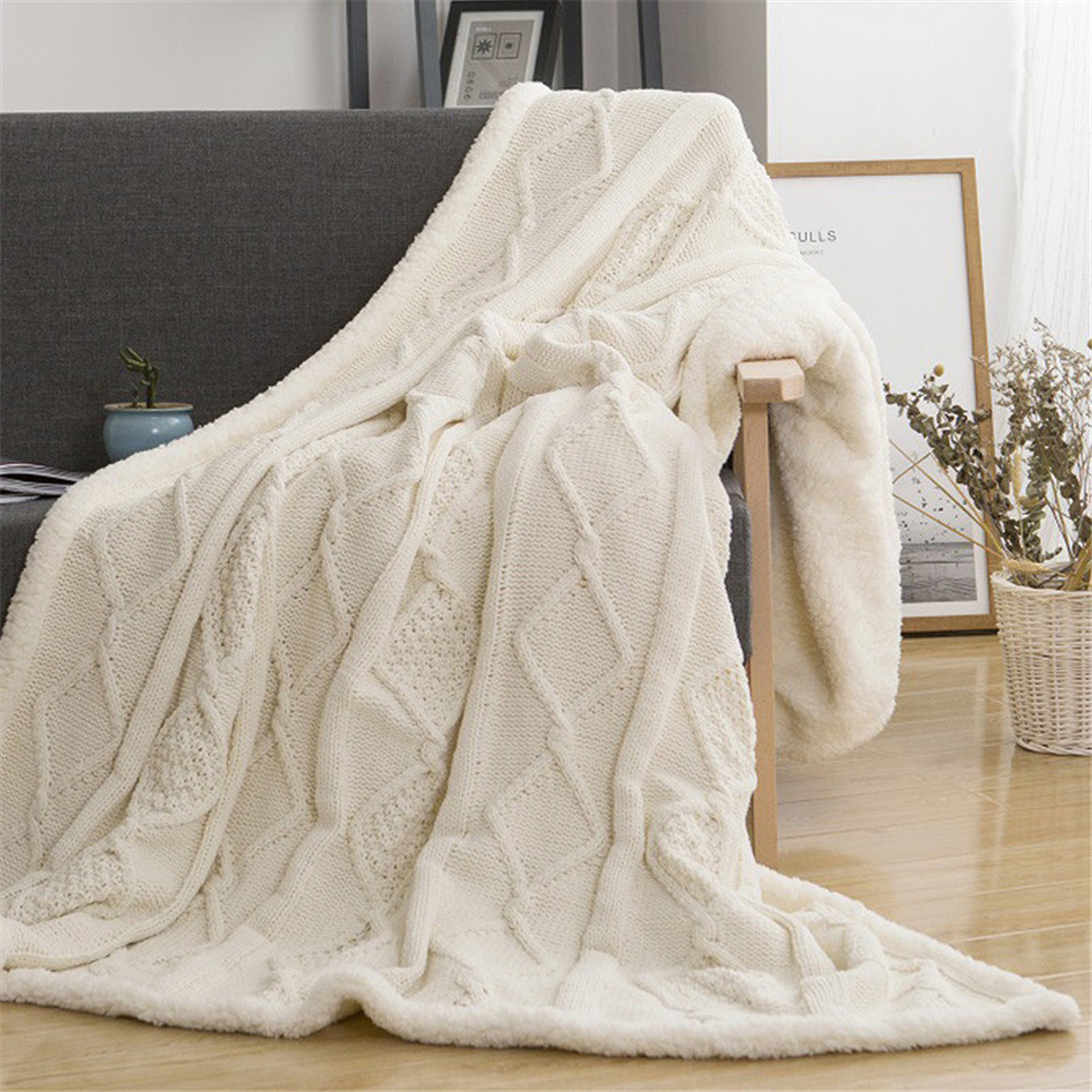 Chenille Lambs Thickening Knitted Throw Blanket Double Layer Sherpa Plush Fleece for Beds Sofa Knitting Blankets