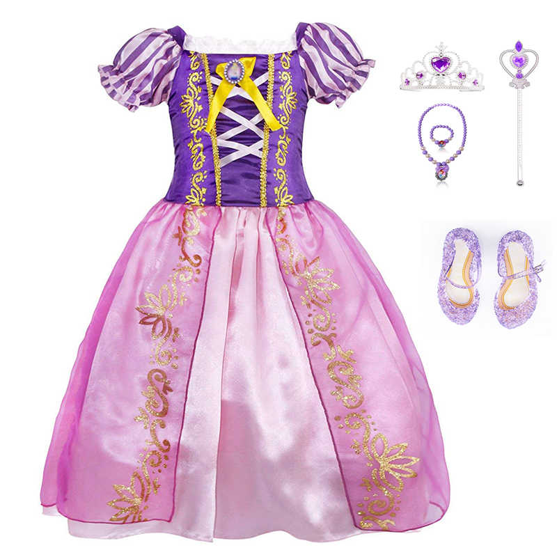 4629b8a3fbc10 TEAEGG Girls Sofia Princess Dress Kids Sophia Sleeping Beauty Party Dresses  Child Girl Rapunzel Aurora Prom Purple Costume