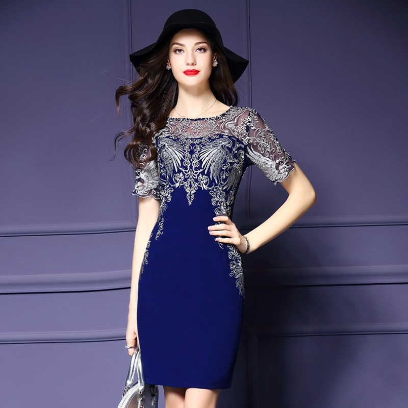 vintage dress 2018 new Spring fashion office lady Women s Clothing Europe embroidery Dress Plus Size