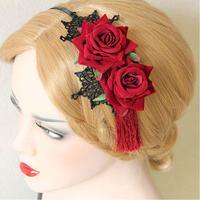 Vintage National Trend Tassel Rose Flower Hair Accessory Fringe Red Rose Hair Bands Lace Chinese Style