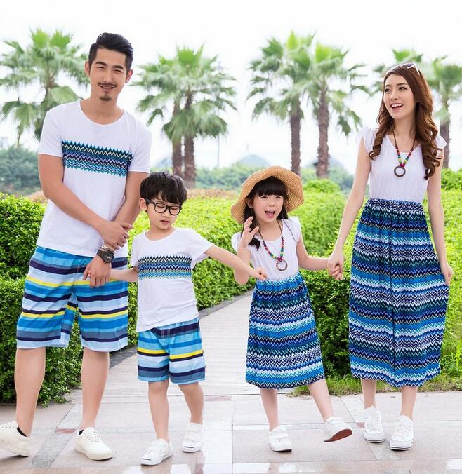 Summer Family T-shirts Unisex Bohemian Mom And Daughter Dress Wave Striped Pattern Short Sleeve Matching Mother Daughter Clothes