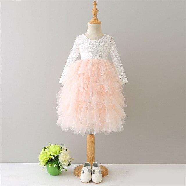 Girls Summer Sweet Lace Long Sleeve Tutu Dress For Toddler Kids