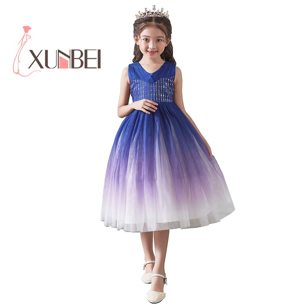Princess Sequined Tea Length Tulle   Flower     Girl     Dresses   2019 Beauty Kids Communion   Dresses   Ball Gown Trajes De Comunion