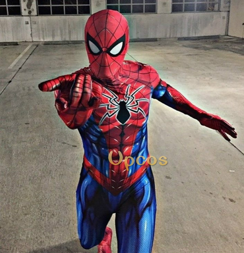 2018 All New Spiderman Cosplay Costume 3D Lycra Spider Print Suit Spandex Spider man Bodysuit Halloween Cosplay Costumes