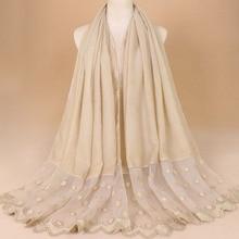 bandanas women scarf muslim hijabs lace dots mujer plain 125g hijab cotton fashion head cover feminino inverno scarves