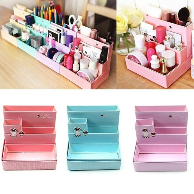 De DIY de papel cajas de almacenamiento de nueva moda decoración de escritorio papelería estilo coreano de cosméticos de maquillaje de los organizadores ST2316
