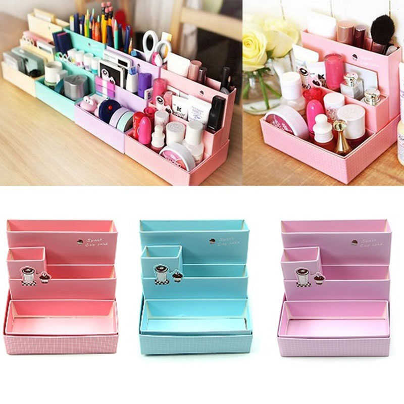 Hot DIY Paper Board Storage Boxes New Fashion Desk Decor Stationery Korean Style Makeup Cosmetic Organizers ST2316