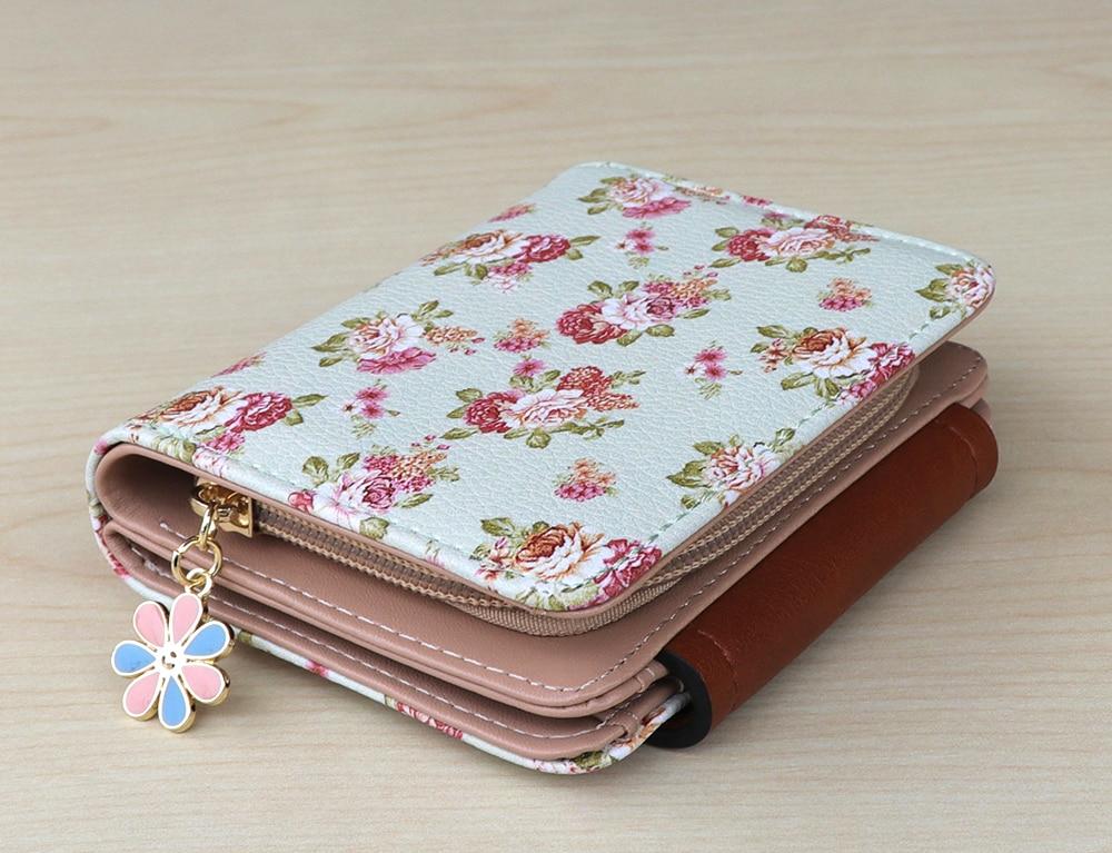 Women Mini Wallet Design Floral Print Coin Purse Card Holder