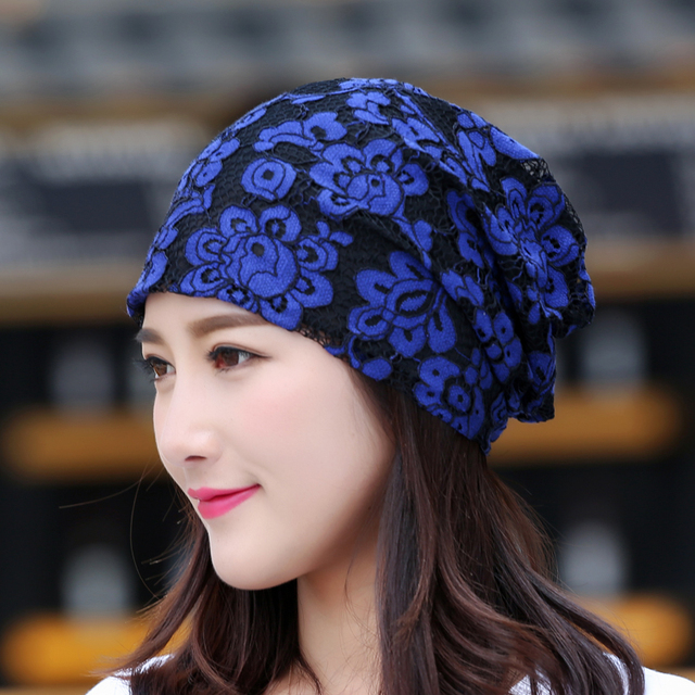 11120987069 Women floral lace Baggy Slouchy Beanie Hat Loose Mesh Lace Skull chemo Cap