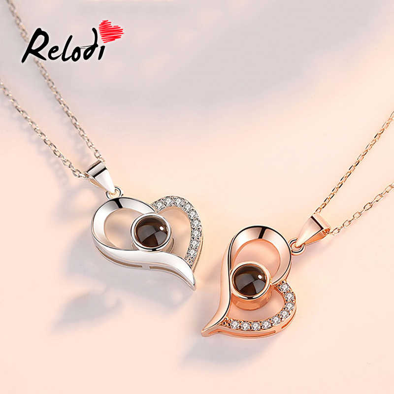 8712007bf2 Relodi Rose Gold 100 Language I Love You Necklace Romantic Love Pendant  Link Chain for Lover
