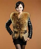 BK High Imitation Raccoon Fur Leather Jackets Fashion Leather Overcoat Women Slim Winter Outerwear