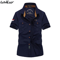 Mens Military Shirt short sleeved outdoor bomber cotton shirts embroidered armband Double Pockets clothing EU Size M 3XL, Z A06
