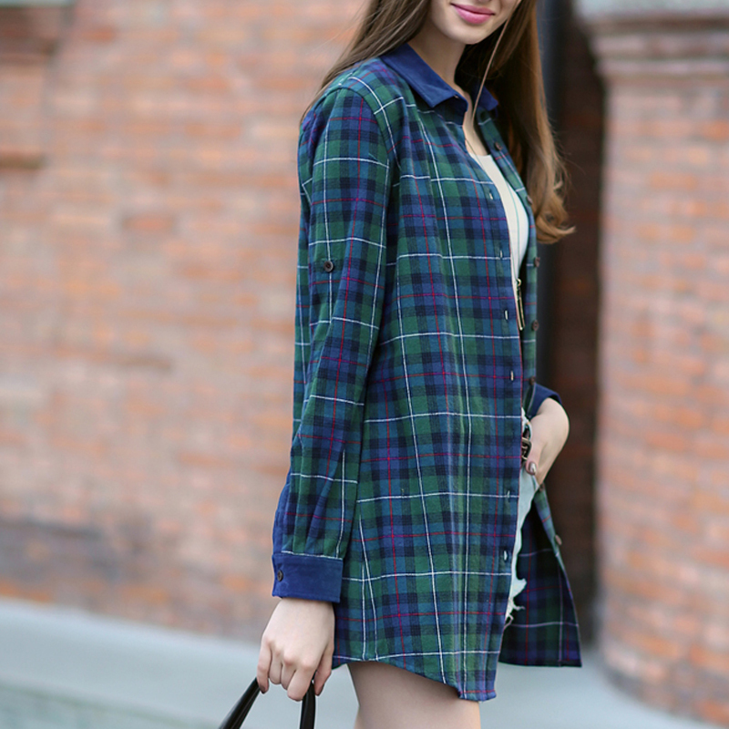 facotry salesquality fashion plaid shirt women lapel long