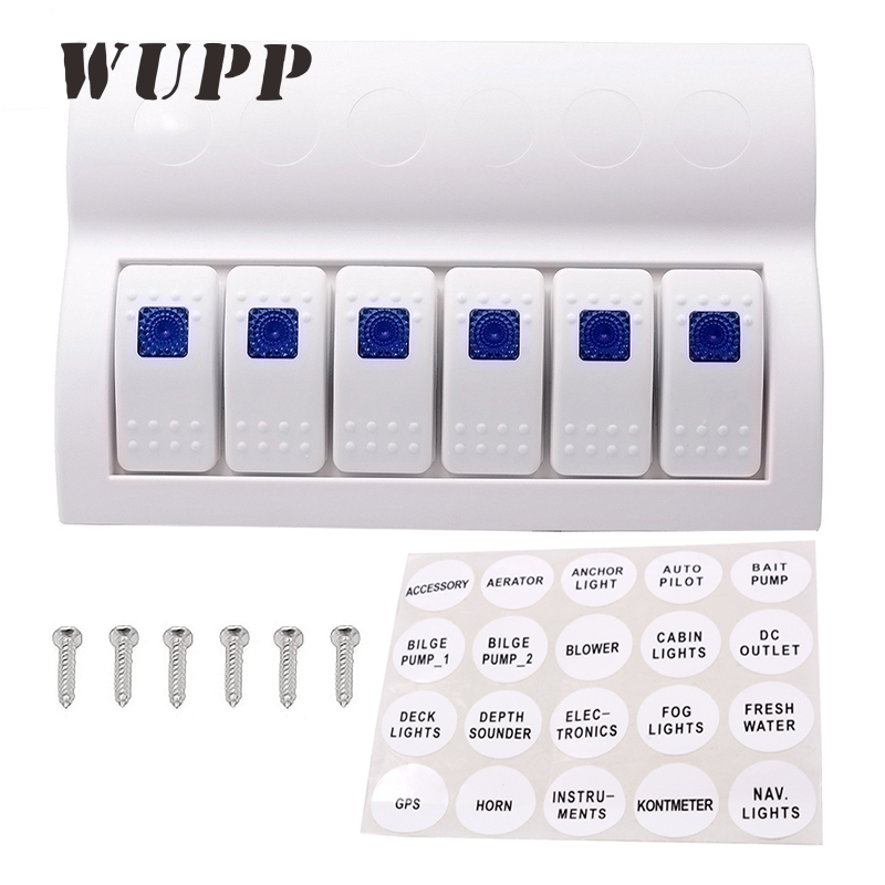 WUPP Switch Panel 6 Gang Switches 3PIN Waterproof Rocker Switch Panel With Blue Led Indicators For