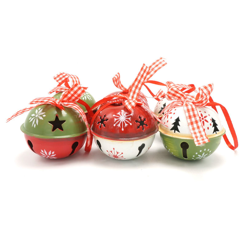 Christmas tree decorations 6pcs red green white metal jingle bell with ribbon for home 50mm*50mm*40mm free shipping