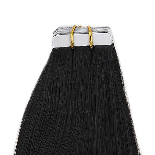 Лента с полным блеском в наращивании человеческих волос Pure Color # 1 Jet Black 100 г 40шт.