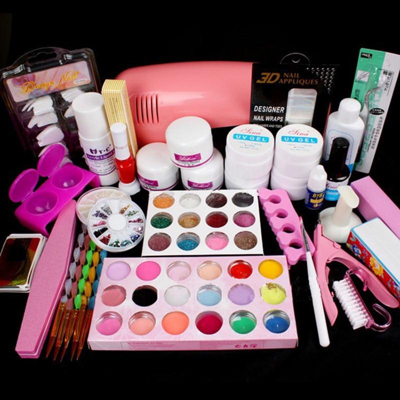 Nail art salon supplies kit tool with uv lamp uv gel nail for Nail salon equipment and supplies