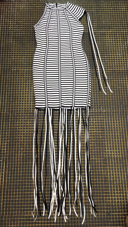 Robe De 2018 Mode Parti D'été Jacqaurd Bandage Gland Tricoté Top Élastique Sexy Pour Qualité Femmes Rayé qgnUzxwHR